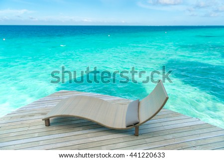 Relaxing on beach, ocean view, Maldives island
