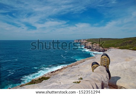 Relaxing on the Rugged Coast of Australia - stock photo