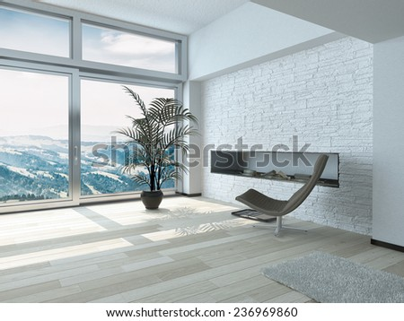 Relaxing Outside View from Lounge Chair in Front Glass Windows with Palm Plant on Pot Ornament Inside Architectural White Residence. 3D Rendering.