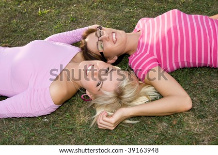 relaxing sisters - stock photo