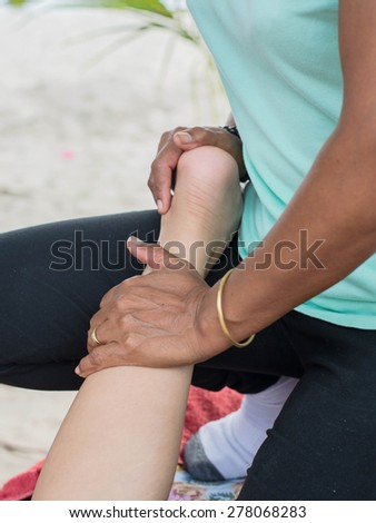 relaxing with hand massage