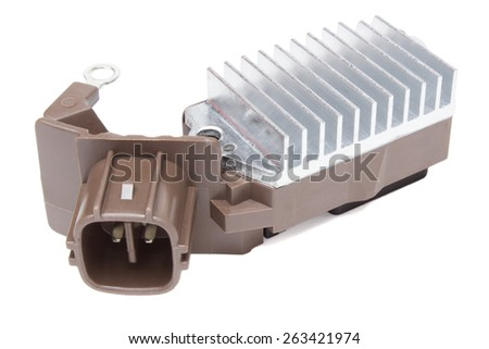 relay charging generator on a white background - stock photo