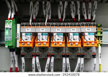 Relay wiring circuit for automation - stock photo