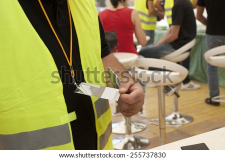 release badge and registration form conference  - stock photo