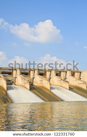 Release of water at a PASAK Dam wall. in Thailand - stock photo