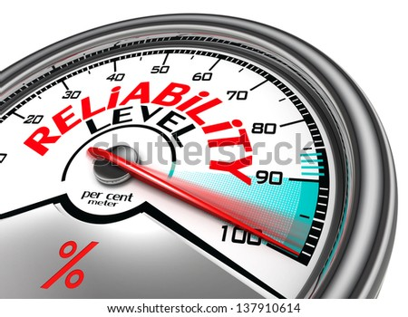 reliability level conceptual meter indicate hundred per cent, isolated on white background - stock photo