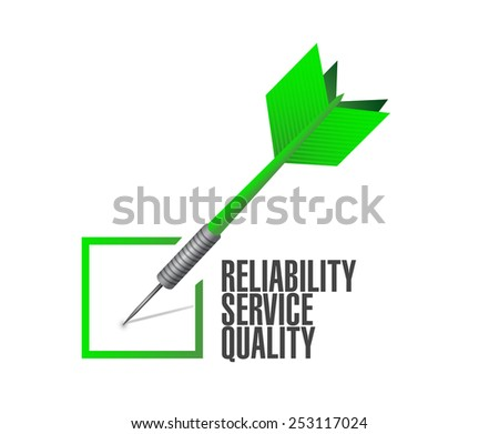 reliability, service, quality check dart illustration design over a white background - stock photo