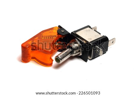 reliable toggle switch with an orange cover on a white background
