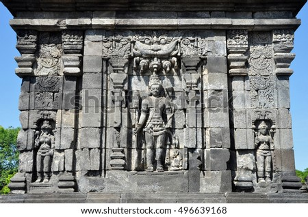 Relief in Sewu Temple, Central Java, Indonesia