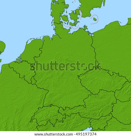 Relief map - Germany - 3D-Rendering