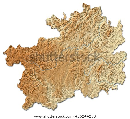 Relief map - Guizhou (China) - 3D-Rendering - stock photo