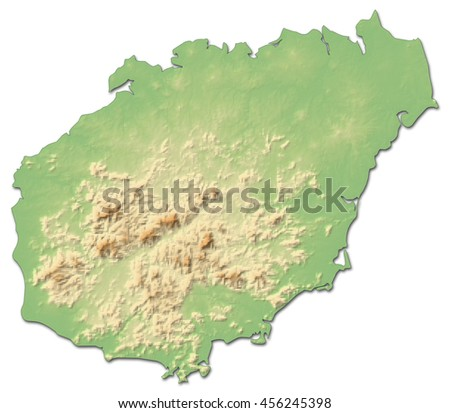 Relief map - Hainan (China) - 3D-Rendering - stock photo