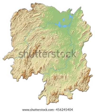 Relief map - Hunan (China) - 3D-Rendering - stock photo