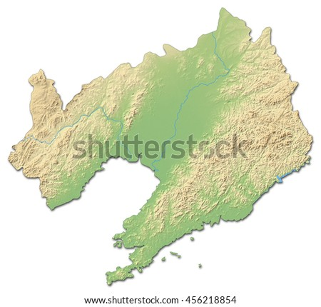 Relief map - Liaoning (China) - 3D-Rendering - stock photo
