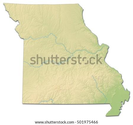Relief Map Missouri United States Drendering Stock Illustration - Us map missouri