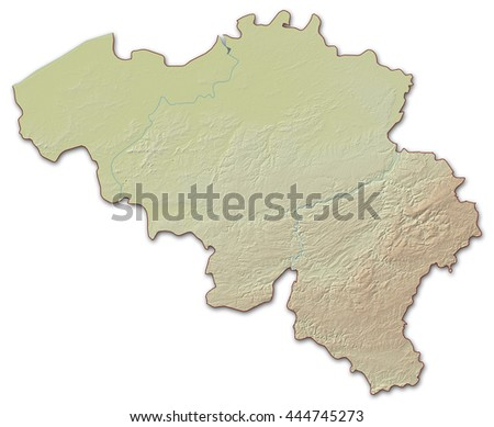 Relief map of Belgium - 3D-Illustration