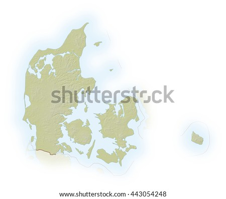 Relief map of Danmark - 3D-Illustration