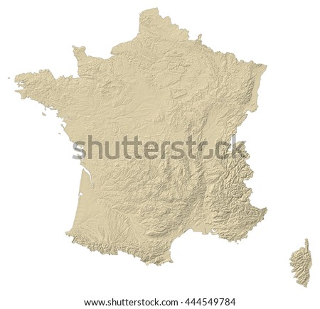 Relief map of France - 3D-Rendering - stock photo