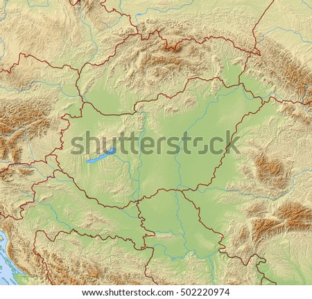 Relief Map of Hungary - 3D-Rendering