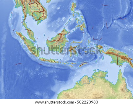 Relief Map of Indonesia - 3D-Rendering