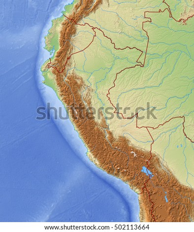 Relief Map of Peru - 3D-Rendering