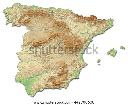 Relief map of Spain - stock photo