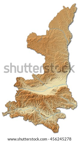 Relief map - Shaanxi (China) - 3D-Rendering - stock photo