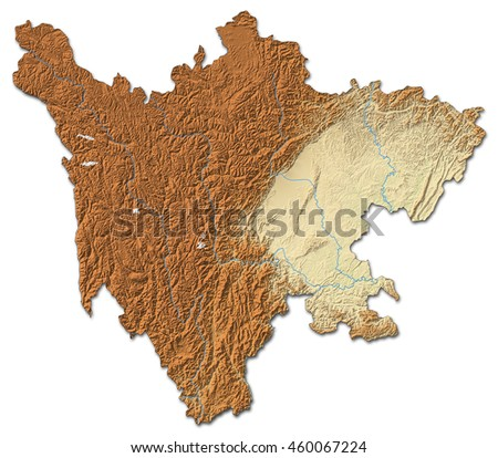 Relief map - Sichuan (China) - 3D-Rendering - stock photo