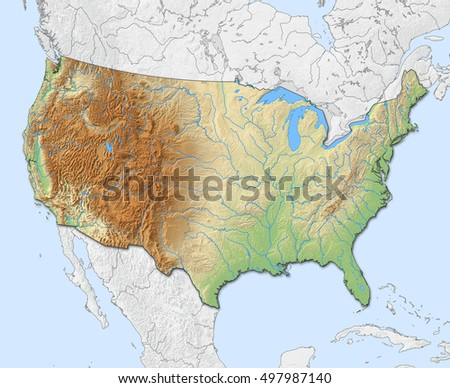 Relief Map United States 3 D Rendering Stock Illustration 497987140