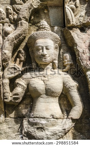 relief of Banteay Kdei temple in the Angkor  Cambodia
