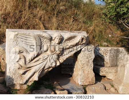 Relief of Goddess Nike, Ephesus, Turkey.  See the �Swoosh� in Her Skirt? - stock photo