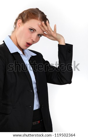 Relieved businesswoman - stock photo