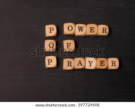Religion concept with power of prayer words - stock photo
