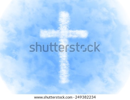 religion cross cloud shape on blue sky background - stock photo