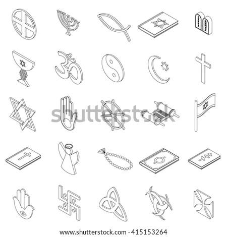 Religion icons set - stock photo