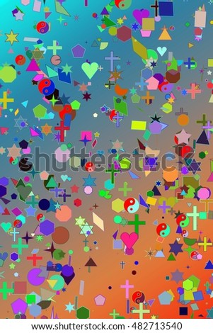 religion, love simbol set on colors background