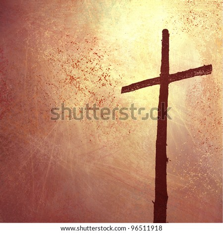 religious and inspiration Christian background with cross illustration for Easter or church bulletin with copyspace - stock photo