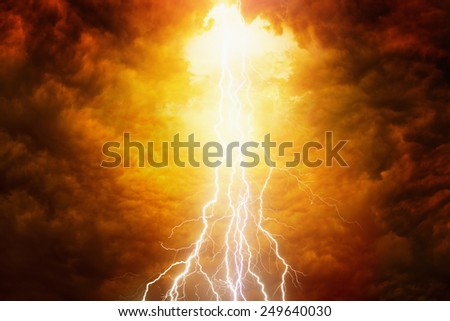 Religious background - bright lightnings in red apocalyptic sky, judgment day, end of world - stock photo