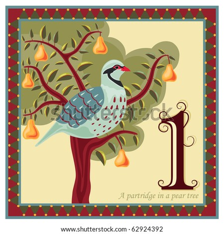 Religious card with The 12 Days of Christmas - 1-st day - A partridge in a pear tree.