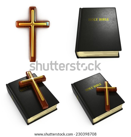 Religious Concepts - Set of 3D Bible and Cross. - stock photo