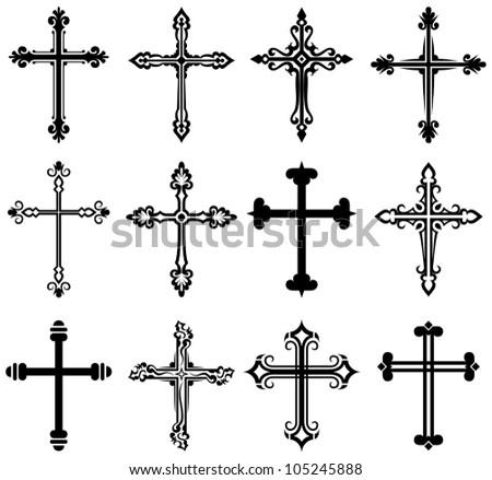 Religious cross design collection. Raster version - stock photo