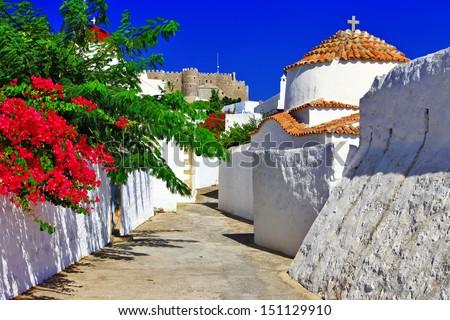 religious Greece.Patmos island. churches and monastery - stock photo