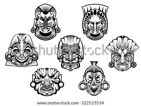 Religious masks in ancient tribal style isolated on white for religious, tattoo or historical design - stock photo