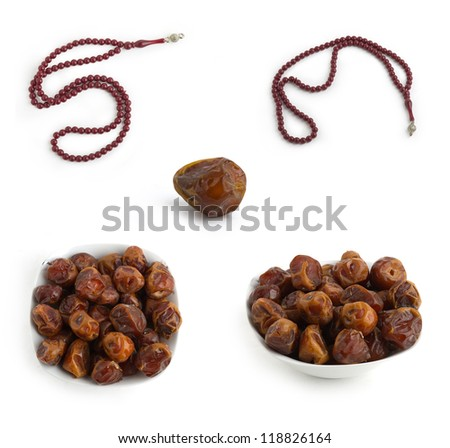 Religious Set of Arabian Traditional Dates and Rosary - stock photo