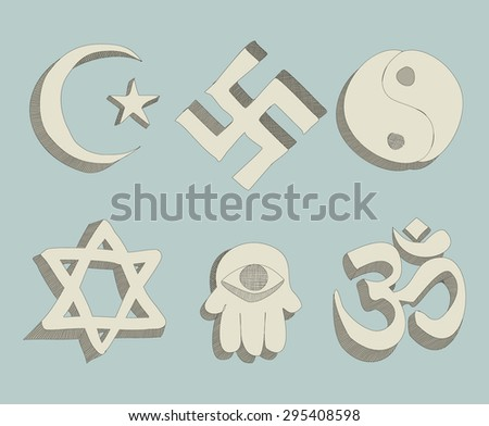 religious signs doodle  - stock photo