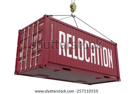 Relocation - Brown Cargo Container Hoisted by Hook, Isolated on White Background. - stock photo