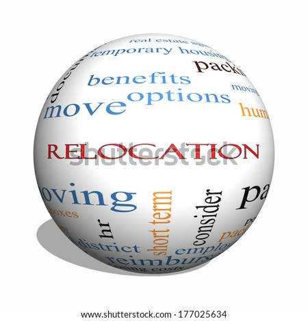 Relocation 3D sphere Word Cloud Concept with great terms such as package, moving, expenses and more. - stock photo