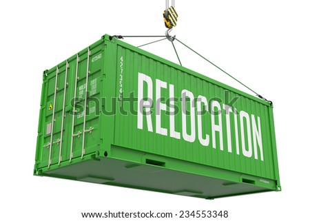 Relocation - Green Cargo Container hoisted with hook Isolated on White Background. - stock photo