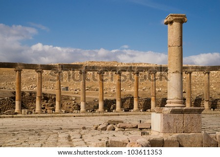 Remainings of the ancient roman town Jerash in Jordan.