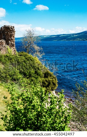 Remainings of the  Urquhart Castle in Loch Ness of Scotland. Loch Ness is a city in the Highlands in Scotland in the United Kingdom.